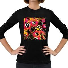 Abstract Clutter Pattern Baffled Field Women s Long Sleeve Dark T-Shirts