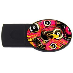 Abstract Clutter Pattern Baffled Field Usb Flash Drive Oval (4 Gb)