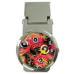 Abstract Clutter Pattern Baffled Field Money Clip Watches