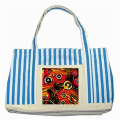Abstract Clutter Pattern Baffled Field Striped Blue Tote Bag
