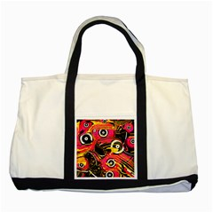Abstract Clutter Pattern Baffled Field Two Tone Tote Bag