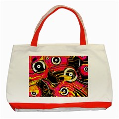 Abstract Clutter Pattern Baffled Field Classic Tote Bag (red)
