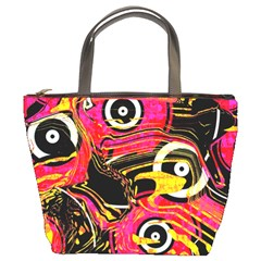 Abstract Clutter Pattern Baffled Field Bucket Bags