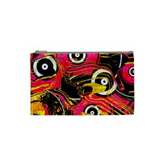 Abstract Clutter Pattern Baffled Field Cosmetic Bag (small)