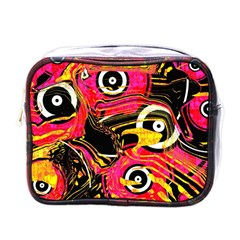 Abstract Clutter Pattern Baffled Field Mini Toiletries Bags