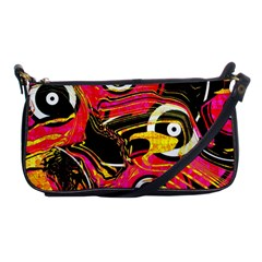 Abstract Clutter Pattern Baffled Field Shoulder Clutch Bags