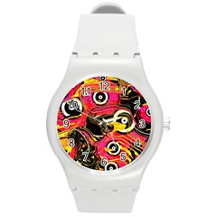 Abstract Clutter Pattern Baffled Field Round Plastic Sport Watch (M)
