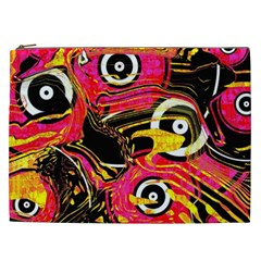 Abstract Clutter Pattern Baffled Field Cosmetic Bag (XXL)