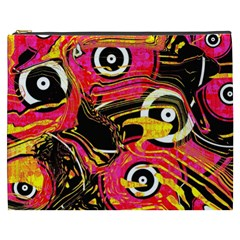 Abstract Clutter Pattern Baffled Field Cosmetic Bag (XXXL)