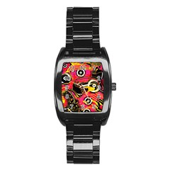 Abstract Clutter Pattern Baffled Field Stainless Steel Barrel Watch