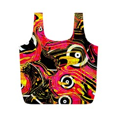 Abstract Clutter Pattern Baffled Field Full Print Recycle Bags (M)
