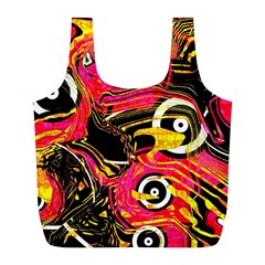 Abstract Clutter Pattern Baffled Field Full Print Recycle Bags (L)