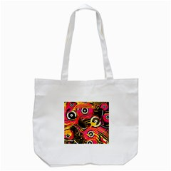Abstract Clutter Pattern Baffled Field Tote Bag (White)