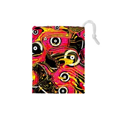 Abstract Clutter Pattern Baffled Field Drawstring Pouches (Small)
