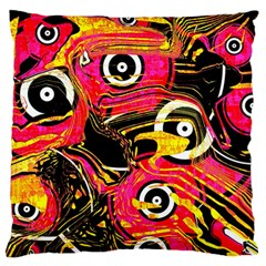 Abstract Clutter Pattern Baffled Field Large Flano Cushion Case (two Sides)