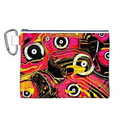Abstract Clutter Pattern Baffled Field Canvas Cosmetic Bag (L)