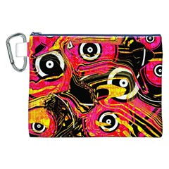 Abstract Clutter Pattern Baffled Field Canvas Cosmetic Bag (XXL)