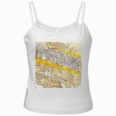Abstract Composition Pattern White Spaghetti Tank