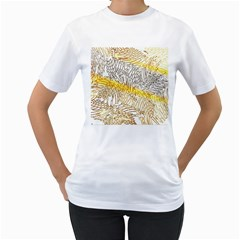 Abstract Composition Pattern Women s T-Shirt (White) (Two Sided)
