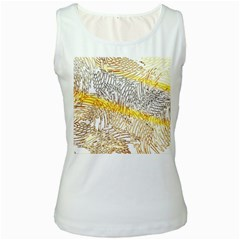 Abstract Composition Pattern Women s White Tank Top