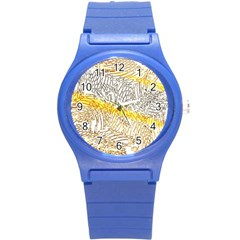Abstract Composition Pattern Round Plastic Sport Watch (S)