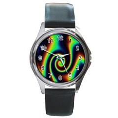 Background Colorful Vortex In Structure Round Metal Watch