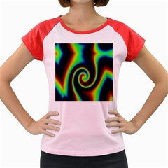 Background Colorful Vortex In Structure Women s Cap Sleeve T Shirt