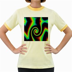 Background Colorful Vortex In Structure Women s Fitted Ringer T Shirts