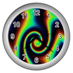 Background Colorful Vortex In Structure Wall Clocks (Silver)