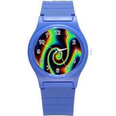 Background Colorful Vortex In Structure Round Plastic Sport Watch (s)