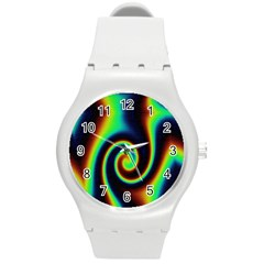 Background Colorful Vortex In Structure Round Plastic Sport Watch (M)