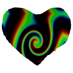 Background Colorful Vortex In Structure Large 19  Premium Heart Shape Cushions