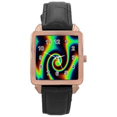 Background Colorful Vortex In Structure Rose Gold Leather Watch