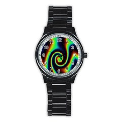 Background Colorful Vortex In Structure Stainless Steel Round Watch