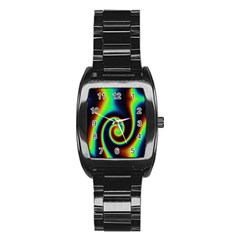 Background Colorful Vortex In Structure Stainless Steel Barrel Watch