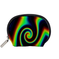 Background Colorful Vortex In Structure Accessory Pouches (Small)