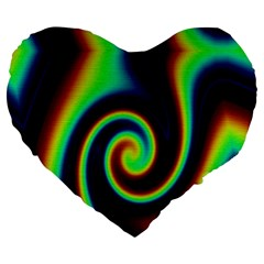 Background Colorful Vortex In Structure Large 19  Premium Flano Heart Shape Cushions