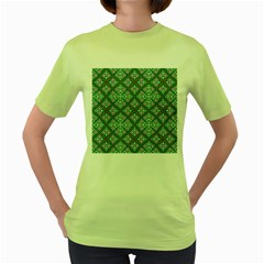Digital Computer Graphic Seamless Geometric Ornament Women s Green T-Shirt