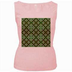 Digital Computer Graphic Seamless Geometric Ornament Women s Pink Tank Top