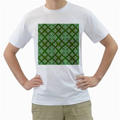 Digital Computer Graphic Seamless Geometric Ornament Men s T-Shirt (White) (Two Sided)