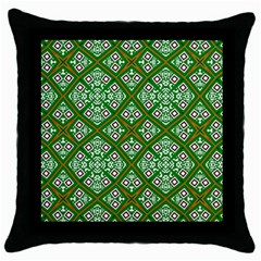Digital Computer Graphic Seamless Geometric Ornament Throw Pillow Case (black)