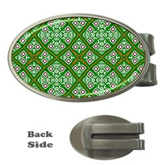Digital Computer Graphic Seamless Geometric Ornament Money Clips (Oval)