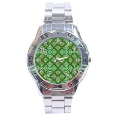 Digital Computer Graphic Seamless Geometric Ornament Stainless Steel Analogue Watch