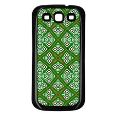 Digital Computer Graphic Seamless Geometric Ornament Samsung Galaxy S3 Back Case (Black)