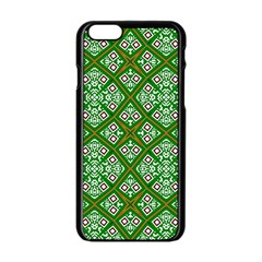 Digital Computer Graphic Seamless Geometric Ornament Apple iPhone 6/6S Black Enamel Case