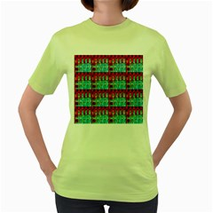 Architectural Abstract Pattern Women s Green T-Shirt