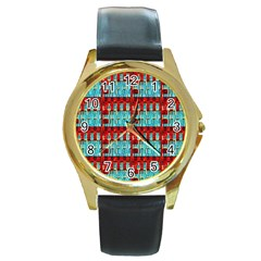 Architectural Abstract Pattern Round Gold Metal Watch