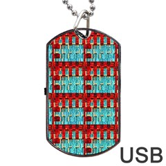Architectural Abstract Pattern Dog Tag Usb Flash (two Sides)