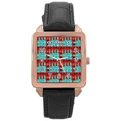 Architectural Abstract Pattern Rose Gold Leather Watch