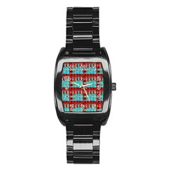 Architectural Abstract Pattern Stainless Steel Barrel Watch